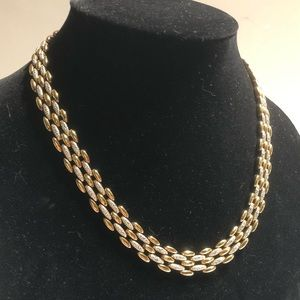 925 gold plated heavy 2 tone linked necklace.
